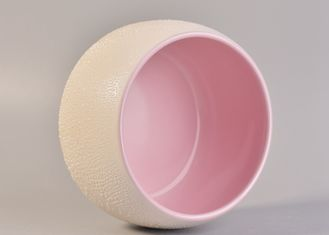 Luxury Indoor Ceramic Candle Container / Candle Vessels Pink Color Inside