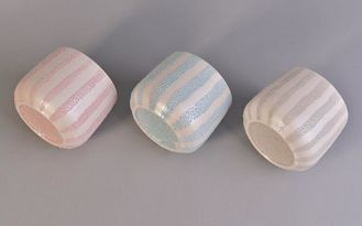 Colored Ceramic Candle Holders with Pearl Glazed External Black Glazed