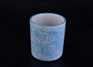 Glazing Ceramic Candle Cup Holders Candle Jar With Coloful Dots Finish